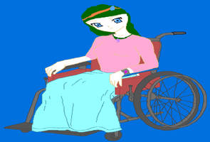 Lizzy in her wheelchair