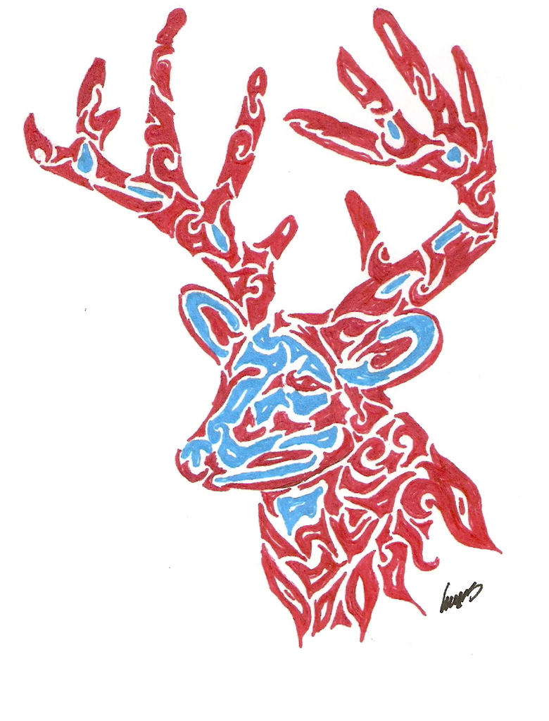 Structured Tribal Deer Tattoo By Kimerawolf On Deviantart