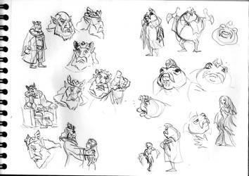 LoZ sketch #24 (King of Hyrule/King Zora)