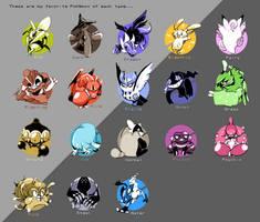 Favorite Pokemon of Each Type 2017 by AddSomePurple
