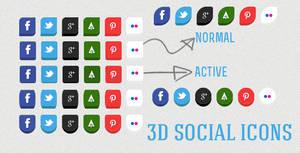 3D social icons