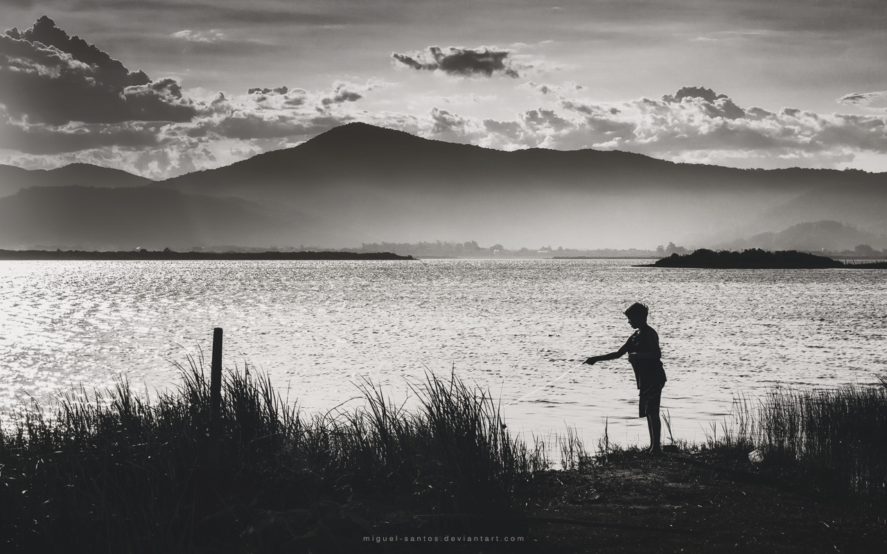 Fishing at Sunset by Miguel-Santos