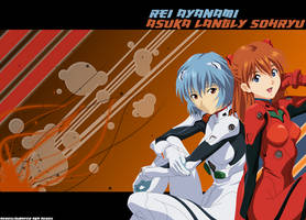 Asuka and Rei Wallpaper vrs 1 by Aeroslaughter