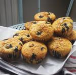 Golden baked blueberry cornbread muffins