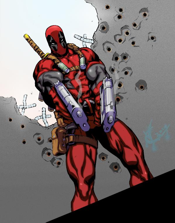 deadpool blasting by C-WeaponX