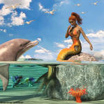 The mermaid, the dolphin and the sea