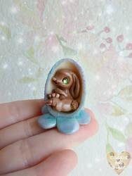 Blue Bunny Flower Egg by CookieAndDinos