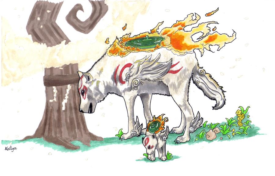 Amaterasu and Chibiterasu [Okami] by Kailyce