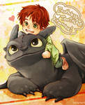 Toothless and Hiccup's son