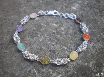 Chakra bracelet, sterling silver chainmaille, gems by UrdHandicrafts