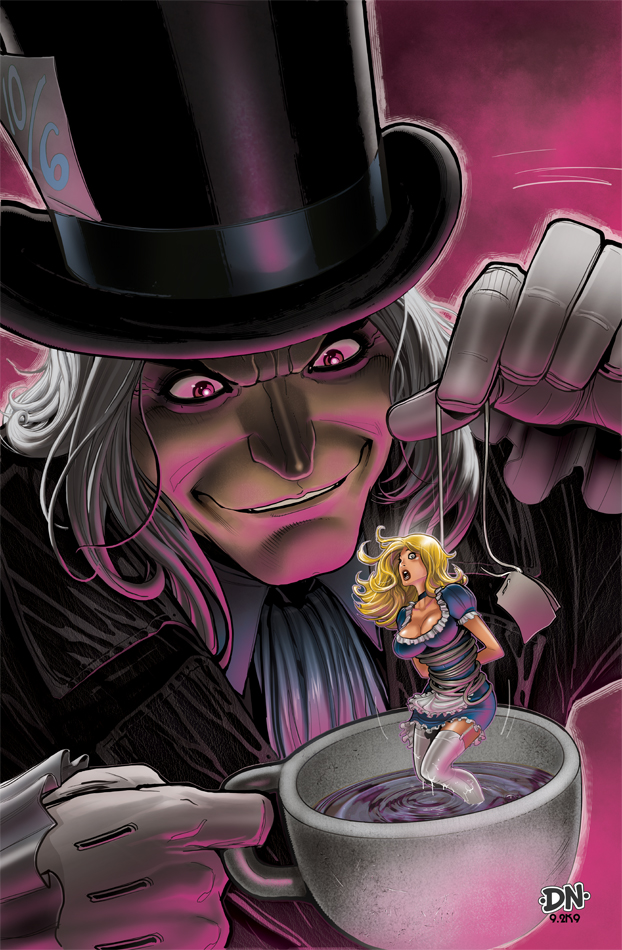 alice and the mad hatter lithographs by david