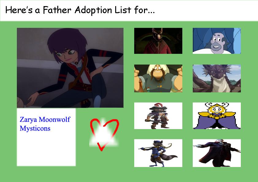Father Adoption List for Zarya Moonwolf by elfdragon35
