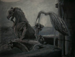 The Gargoyle and the Heron by zyrshnikashnu