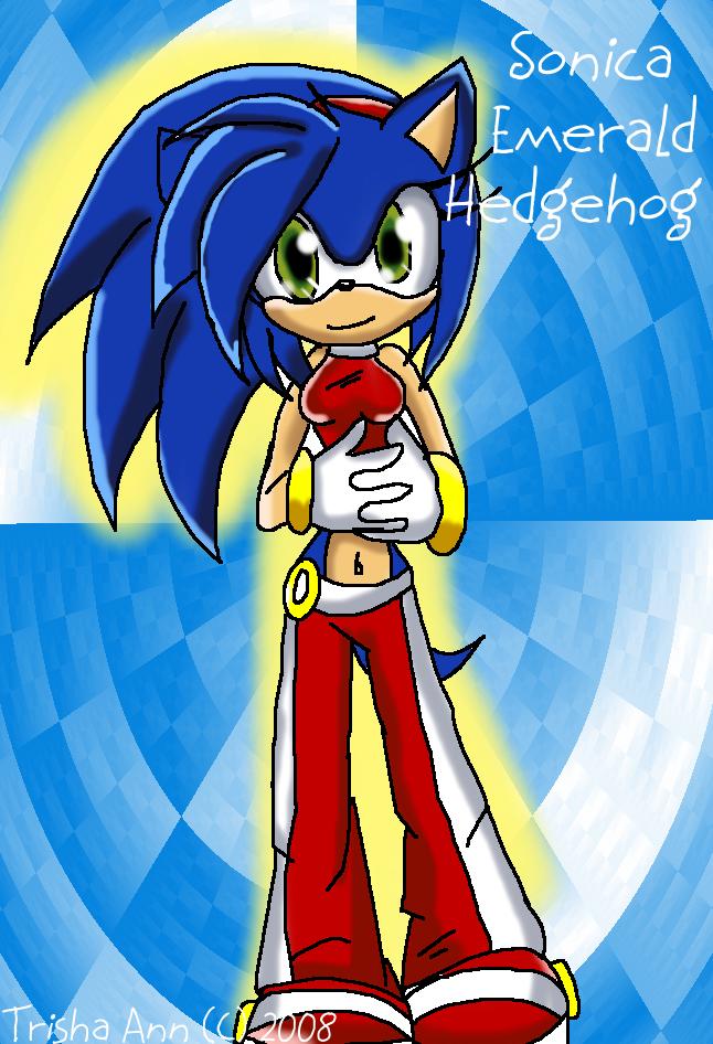 Sonica Emerald Hedgehog by GalaxystarX94