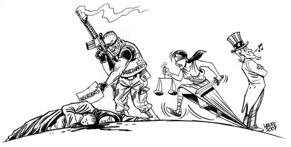 US hires mercenaries for Iraq by Latuff2