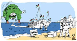 Boats break Israeli blockade by Latuff2