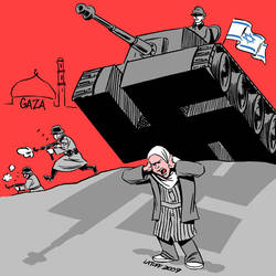 Tanks rolling over Gaza by Latuff2