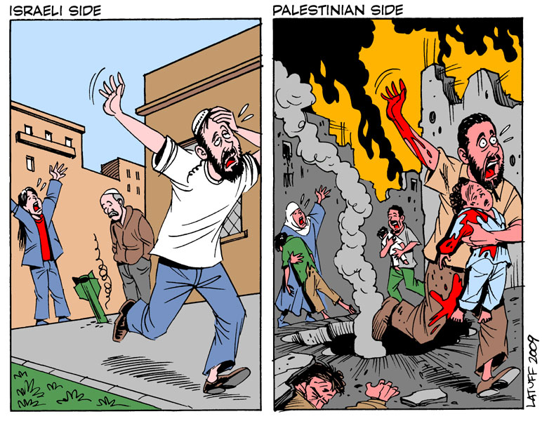Carlos Latuff - Caricaturista Revolucionario Both_sides_of_Gaza_conflict_by_Latuff2