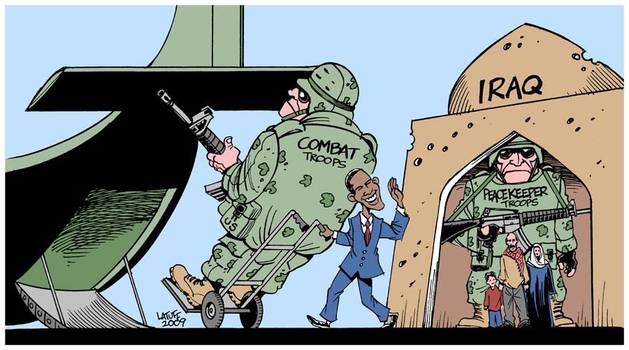 """Obama's Iraq """"withdrawal"""" by Latuff2"""
