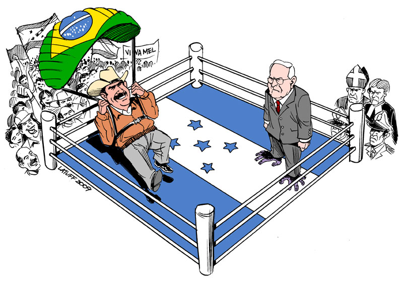 Manuel Zelaya returns home by Latuff2