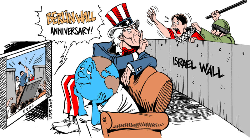 Berlin and Israel walls by Latuff2