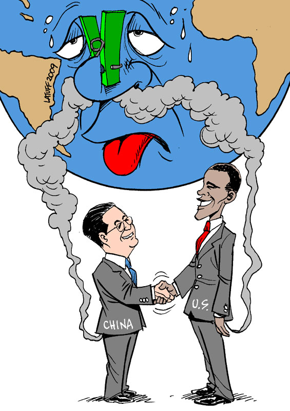 US China no emissions cut by Latuff2