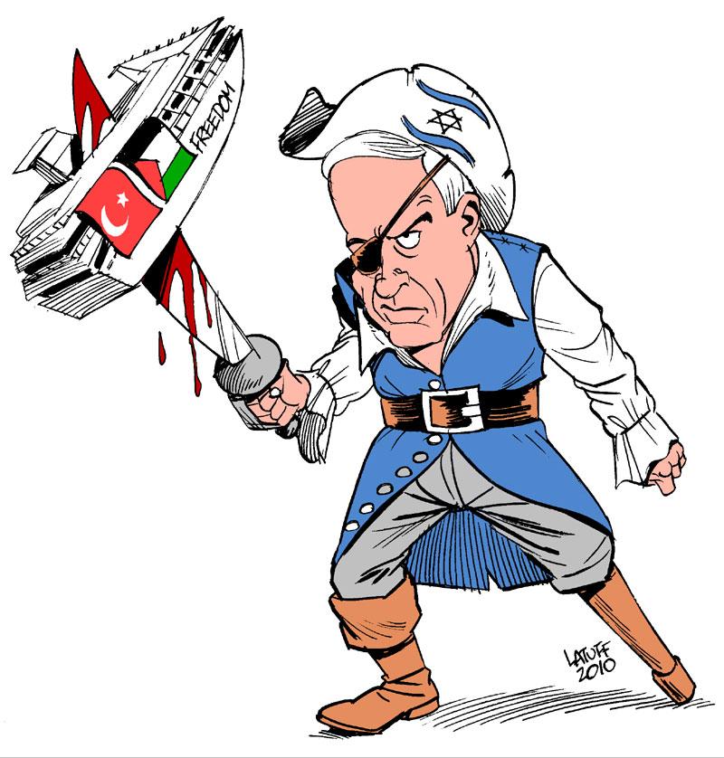 Netanyahu Bloodthirsty Pirate by Latuff2