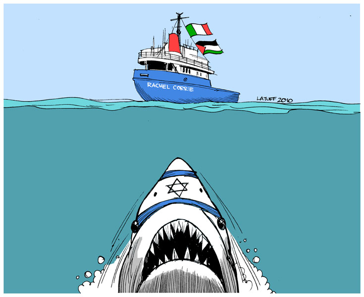 Carlos Latuff - Caricaturista Revolucionario Israel_threatens_Rachel_Corrie_by_Latuff2