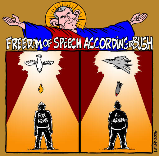 Bush plotted to BOMB AlJazeera by Latuff2
