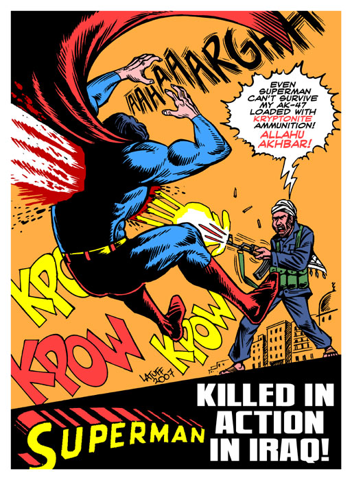 Superman killed in action by Latuff2