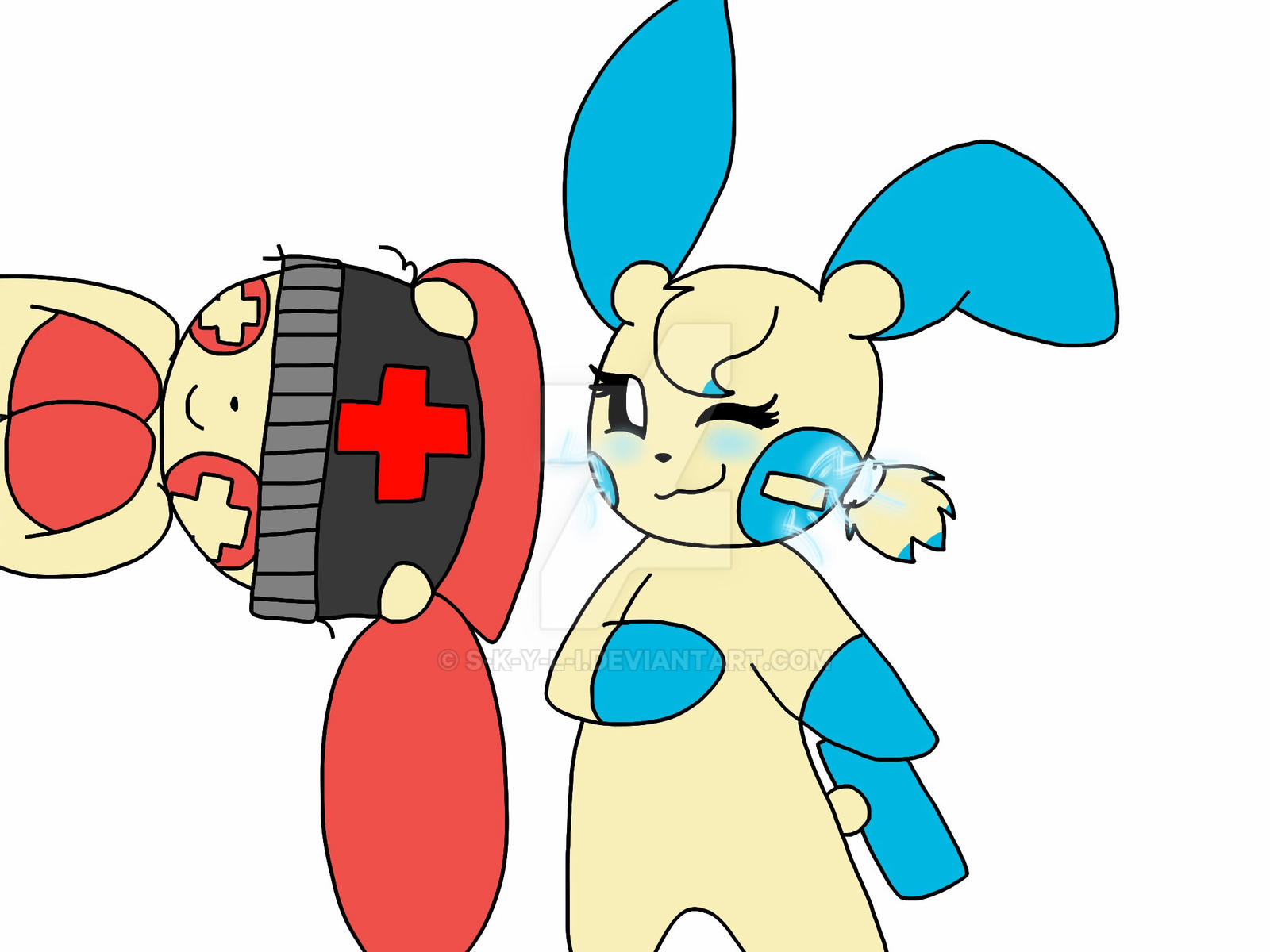 Plusle and Minun by S-K-Y-L-I