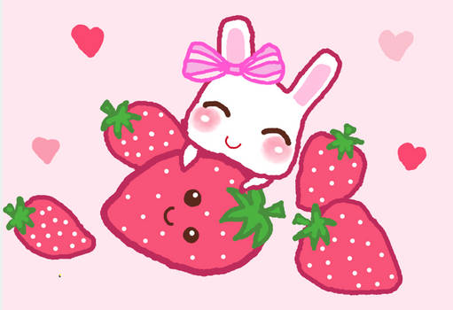Bunny loves Strawberry ^.^