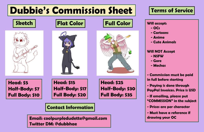 Dubbie's Commission Chart (OPEN)