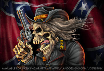 Confederate Rebel Civil War Skull General-700px by flylanddesigns