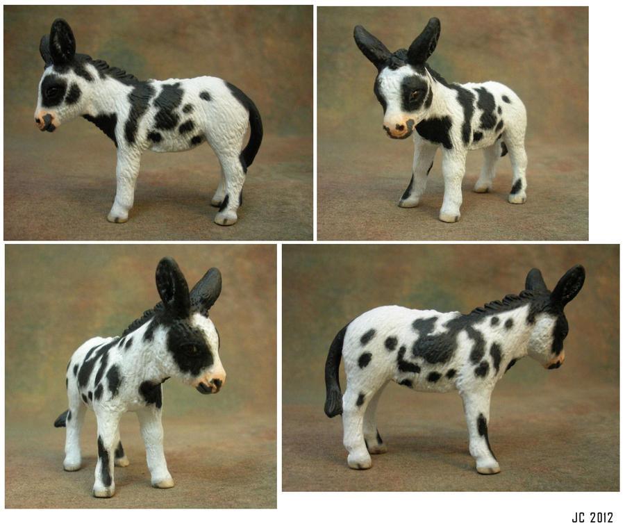 Cm Schleich Black White Spotted Baby Donkey By Illuminatedface
