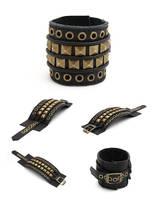 DV01-EPIC:  Black Leather Cuff Bracelet, Hand Stit by tiptopland