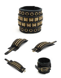 DV01-EPIC:  Black Leather Cuff Bracelet, Hand Stit