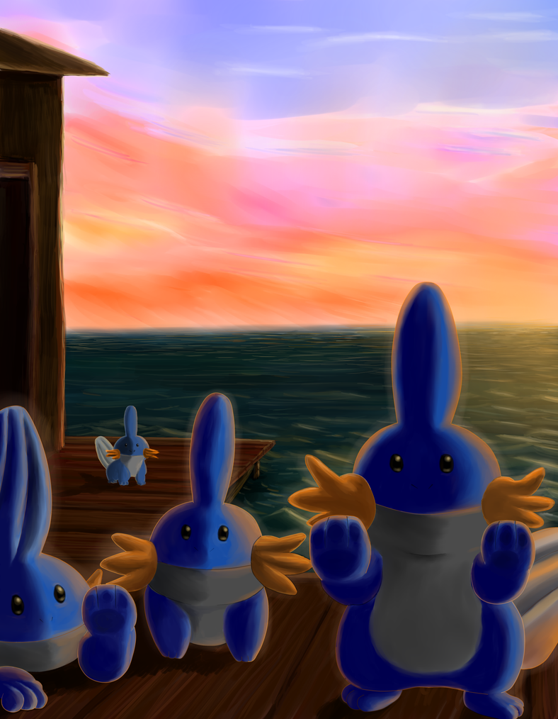 Mudkips on the Dock by Mewscaper