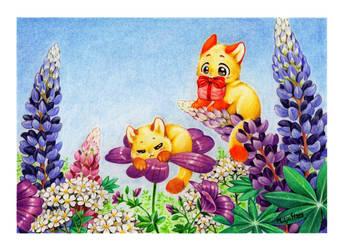 Kukkakisut/Flower kitties by StepiHukari