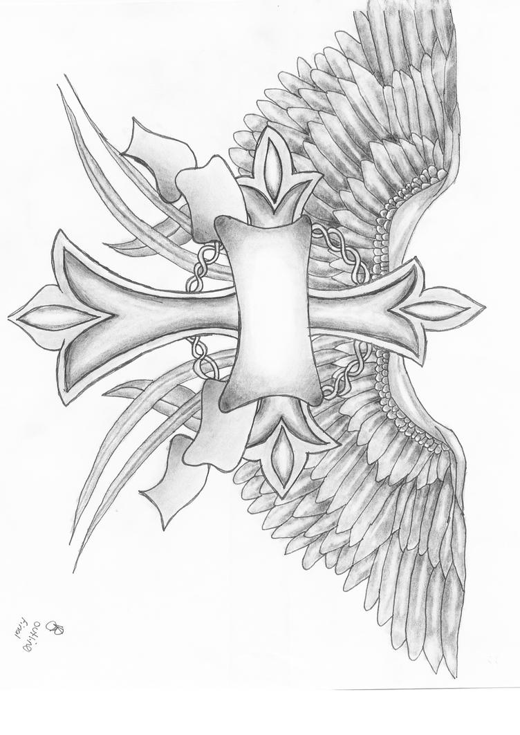 Cross and wings by vikkiarae on deviantart for Memory cross template