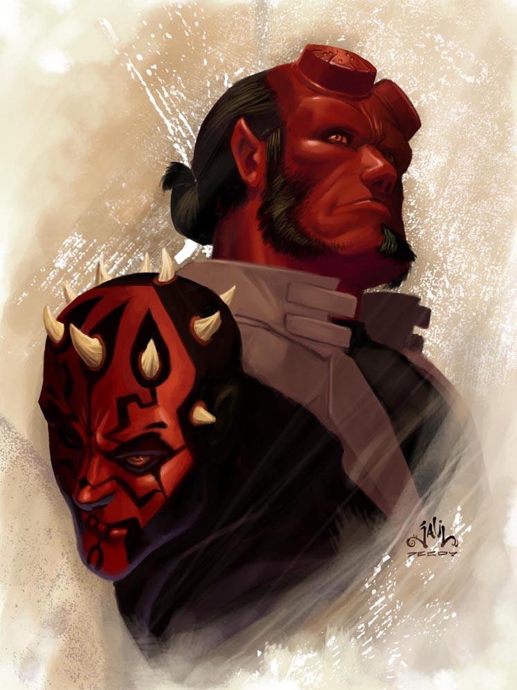Hellboy vs Darth Maul by Reza-ilyasa