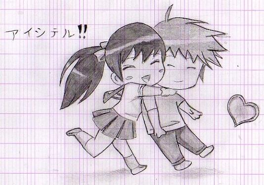 Chibis hugging - photo#6