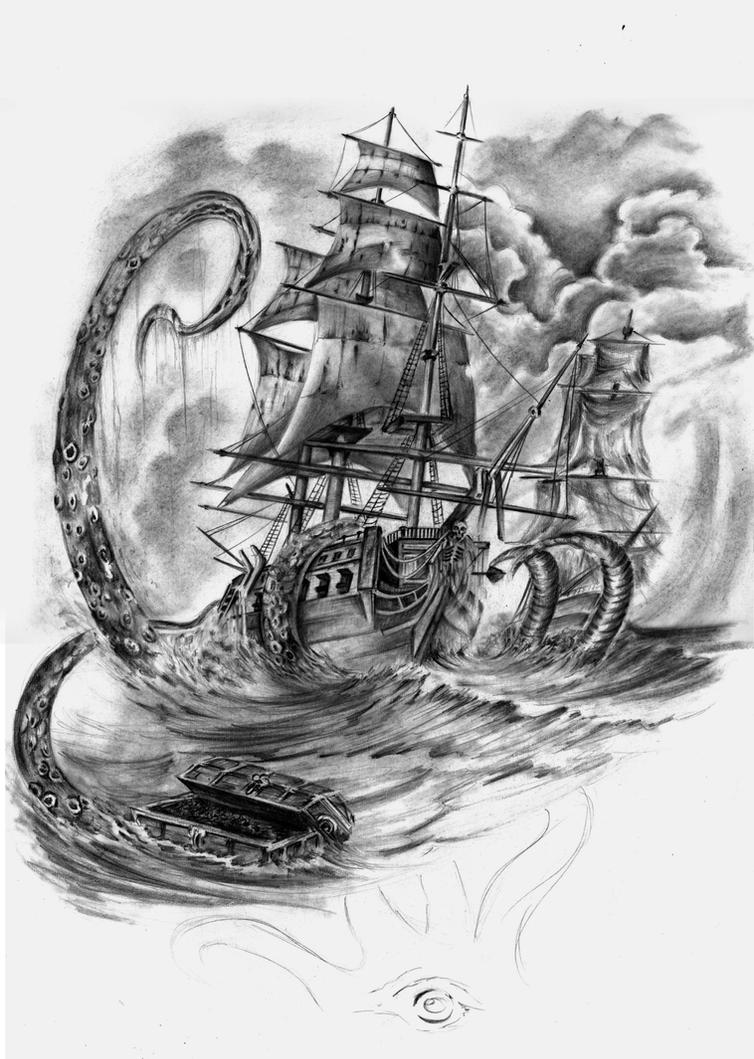 The gallery for --> Kraken Attacking Ship Drawing