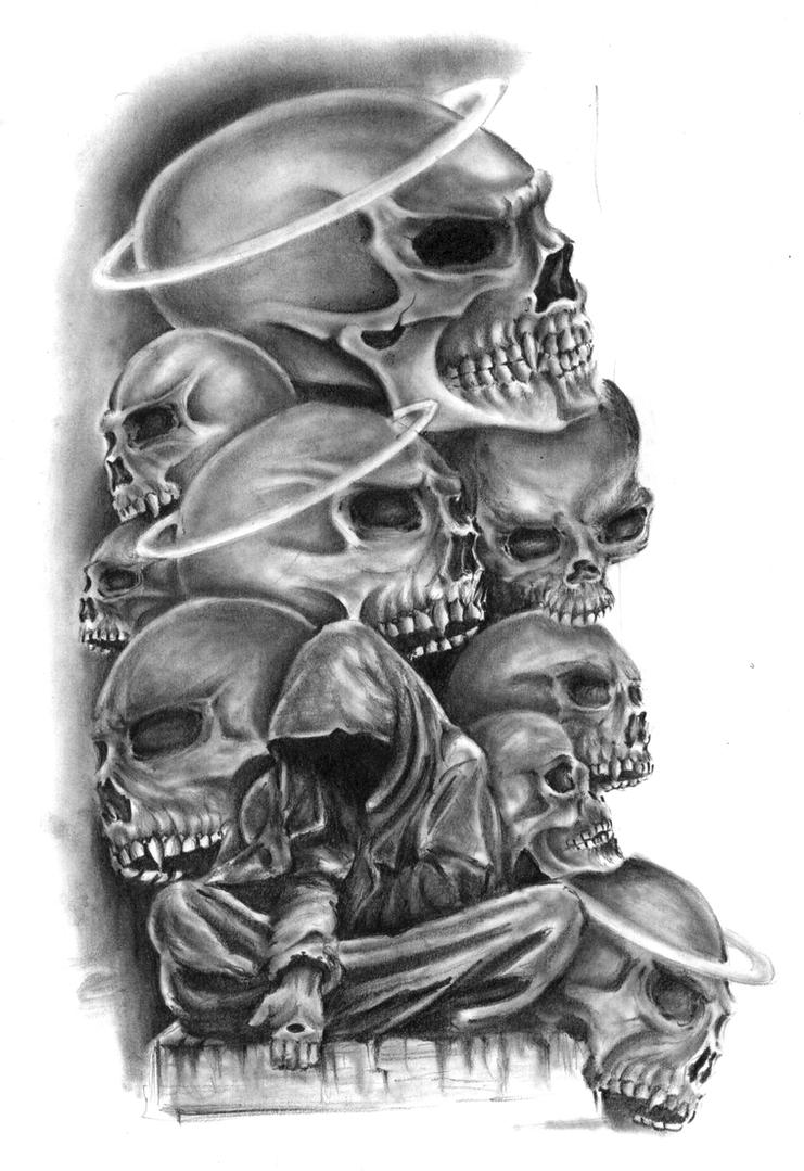 skulls by nusho on deviantart. Black Bedroom Furniture Sets. Home Design Ideas