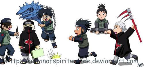 Akatsuki vs. Asuma Team Chibis by BotanofSpiritWorld