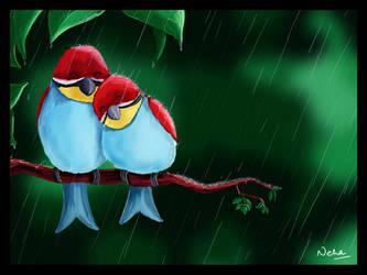 little blue birds by Xandox