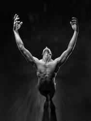 5866 Reaching BW Male Nude by artonline