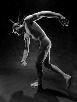 5941 Black and White Male Nude with Spike Hair