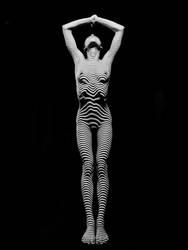 0029-DJA BW Young Woman Zebra Striped Nude by artonline