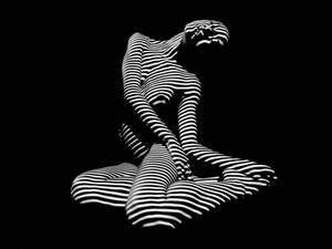 0111-DJA Nude Young Woman BW Zebra Stripe Abstract